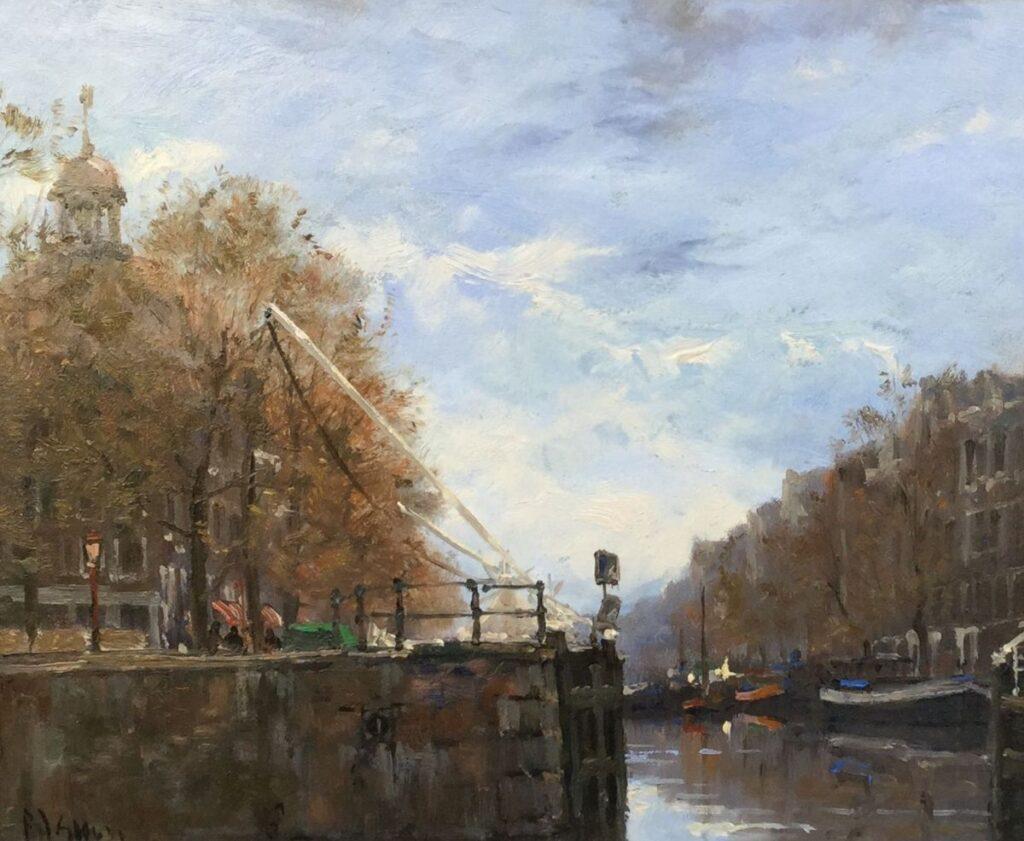 Schilderijen te koop, kunstschilder Frits Goosen, C2480 Singel Amsterdam olie op paneel, 30 x 25 cm l.o. gesigneerd verkocht, expositie Galerie Wijdemeren Breukeleveen