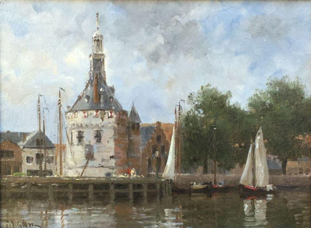 Schilderijen te koop, kunstschilder Frits Goosen, C2481 Haven van Hoorn Olieverf op doek, 18 x 24 cm, Expositie Galerie Wijdemeren Breukeleveen