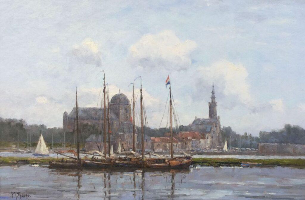 Schilderijen te koop, kunstschilder Frits Goosen, C2482 Haven van Veere olie op doek, 40 x 60 cm l.o. gesigneerd, Expositie Galerie Wijdemeren Breukeleveen