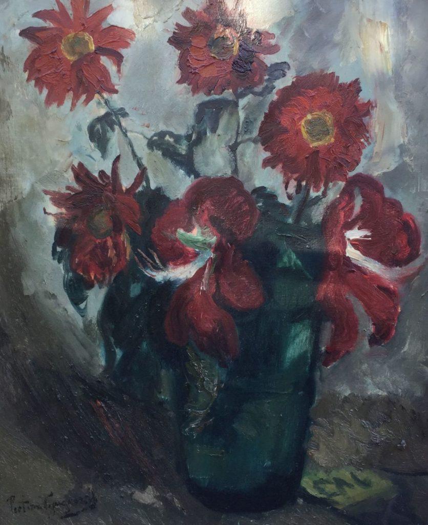 Kunst te koop bij Galerie Wijdemeren van Piet van Wijngaerdt Chrysanten en Amaryllis olieverf op doek, 68 x 55 cm linksonder gesigneerd
