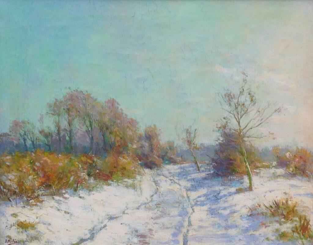 Kunstenaar Adrianus Miolée C250, Adrianus Miolée Wintermiddag Olieverf op doek, 40,5 x 51 cm l.o. gesigneerd