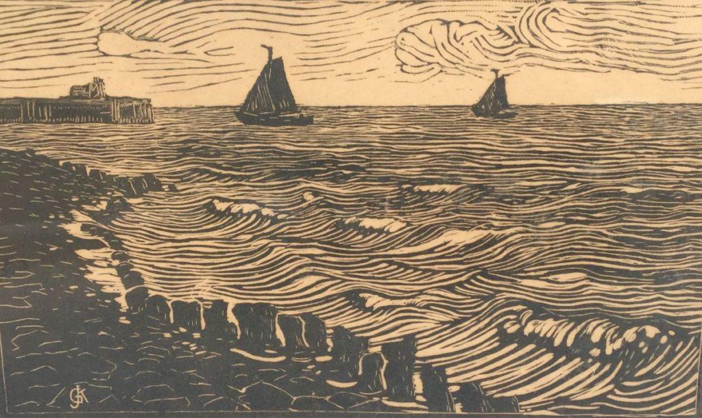 Kunst te koop bij Galerie Wijdemeren van kunstschilder Gerard Koekkoek Zeilbootjes voor de kust hout/linosnede, 29.5 x 48.5 cm linksonder gesigneerd