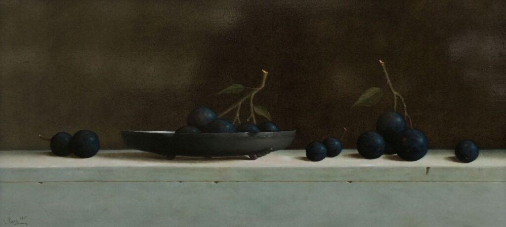 Schilderijen te koop van kunstenaar Leo Pors stilleven met pruimen olie op paneel, gesigneerd particuliere collectie