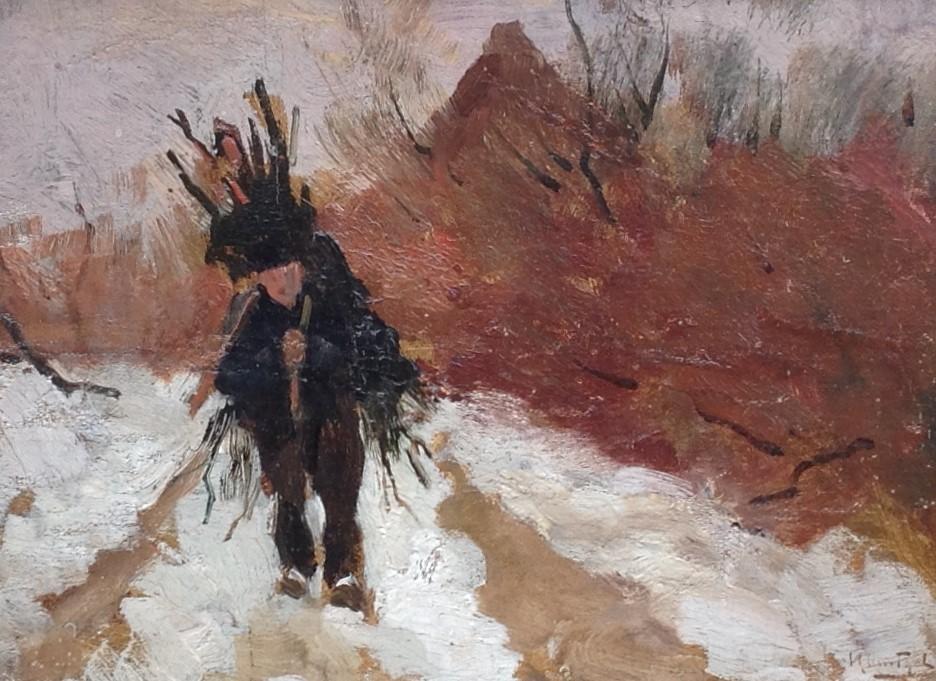 Schilderijen te koop van kunstschilder Hendrik Otto van Thol 'Sneeuwlandschap met houtsprokkelaar' Marouflé, beeldmaat 19,5 x 27 cm rechtsonder gesigneerd, Expositie Galerie Wijdemeren Breukeleveen