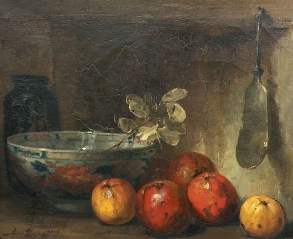 Schilderijen te koop van kunstschilder Ans van den berg Stilleven met appels olie op doek, 60 x 69,5 cm l.o. gesigneerd, Expositie Galerie Wijdemeren Breukeleveen