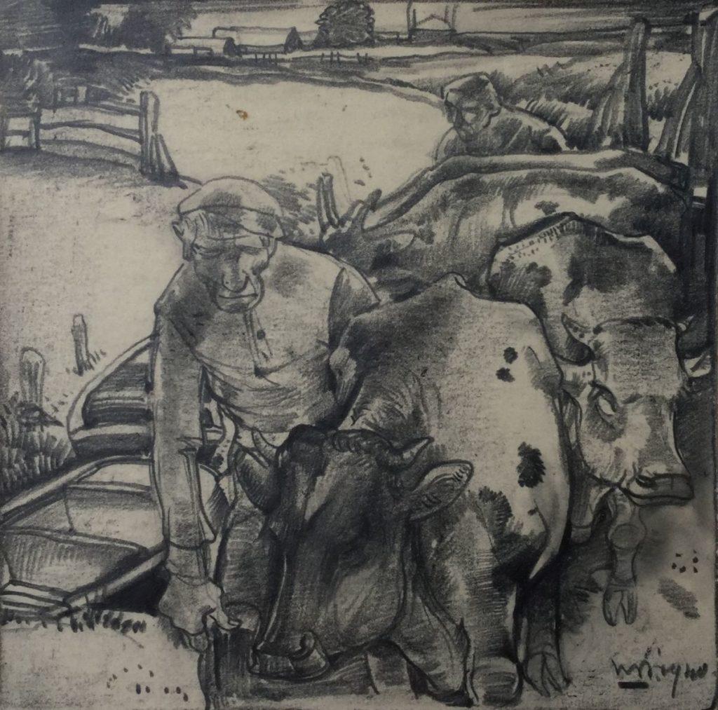 Schilderijen te koop van kunstschilder Willem van den Berg Boer met koeien tekening, beeldmaat 35 x 26,5 cm rechtsonder gesigneerd, Expositie Galerie Wijdemeren Breukeleveen