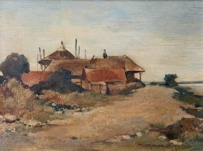 Schilderijen te koop van kunstschilder Willem van den Berg Boerderij Olie op paneel, 15 x 21 cm r.o. gesigneerd en gedateerd 1905, Expositie Galerie Wijdemeren Breukeleveen