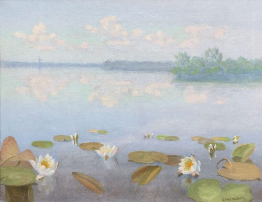 Schilderijen te koop, kunstschilder Dirk Smorenberg Waterlelies olie op doek, 35 x 46 cm r.o. gesigneerd, expositie Galerie Wijdemeren Breukeleveen