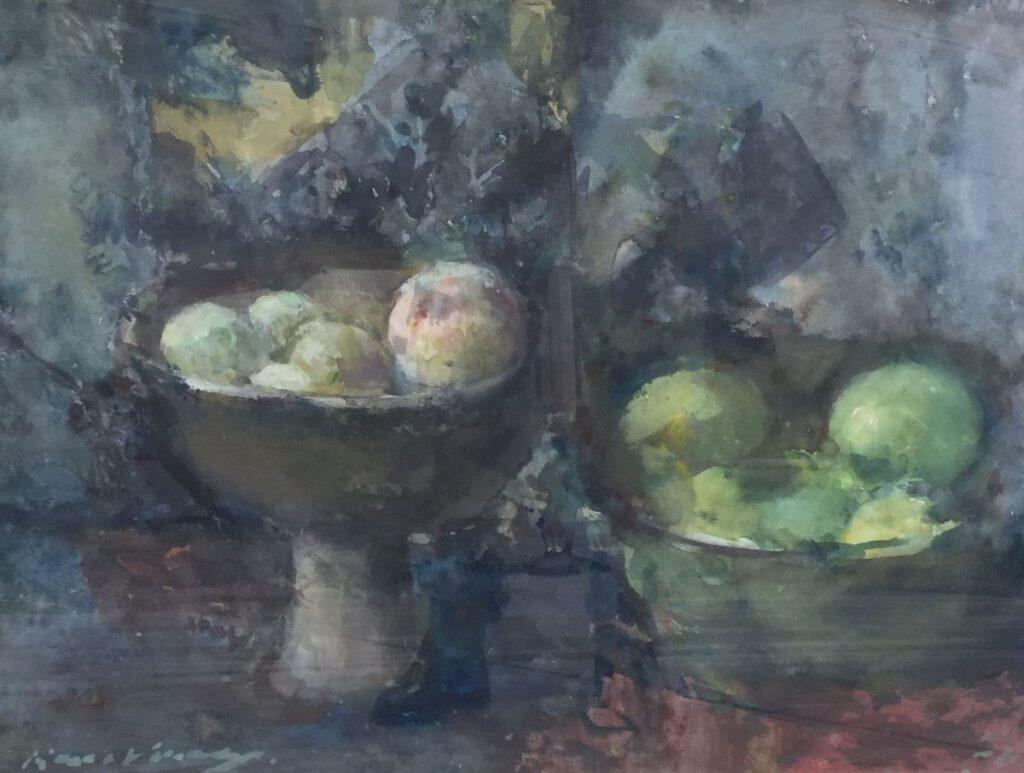 Schilderijen te koop van kunstschilder Kees Verwey Stilleven met fruit aquarel, 42 x 55 cm l.o. gesigneerd, Expositie Galerie Wijdemeren Breukeleveen