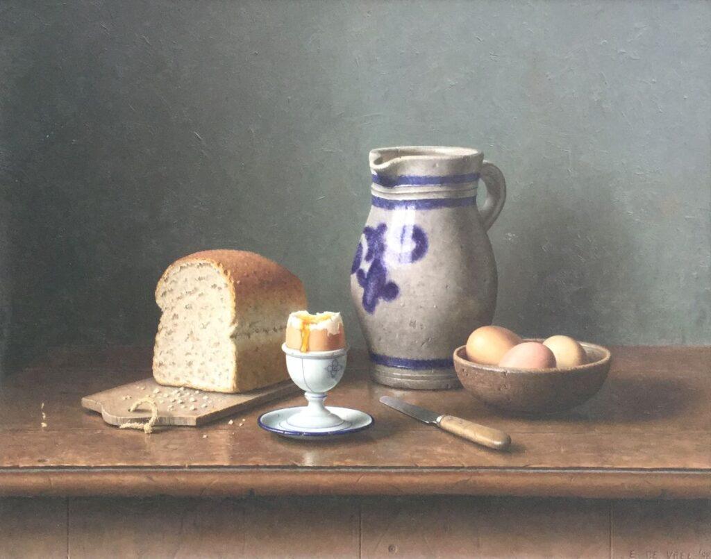 Schilderijen te koop, kunstschilder Eric de Vree Stilleven, gedateerd 1998 Olie op paneel, paneelmaat 46 x 58 cm Rechtsonder gesigneerd, Expositie Galerie Wijdemeren Breukeleveen