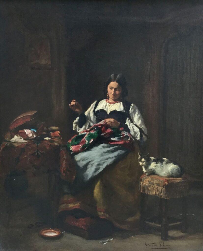 Schilderijen te koop, kunstschilder Armand Leleux Interieur met dame en kat olie op doek, doekmaat 46,5 x 38,5 gesigneerd rechtsonder, Expositie Galerie Wijdemeren Breukeleveen