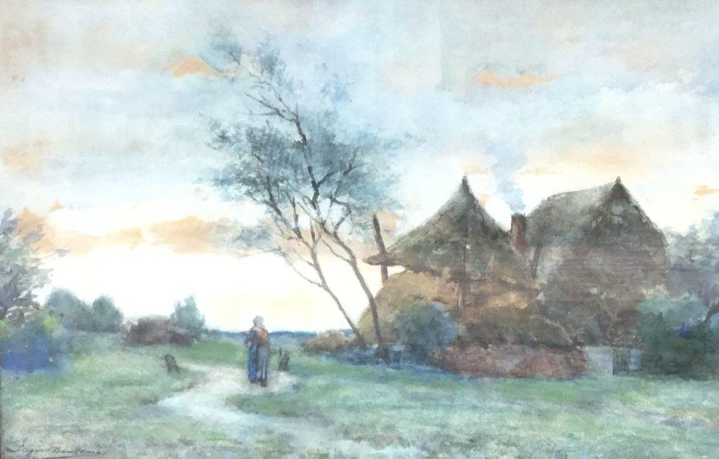 Kunst te koop bij Galerie Wijdemeren van kunstschilder S. Baukema Figuren op landweggetje bij boerderij aquarel, 32,5 x 48 cm gedateerd 1935