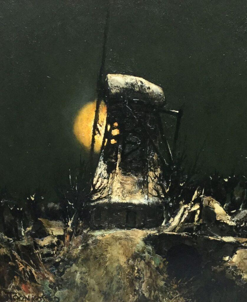 Schilderijen te koop, kunstschilder Toon Koster Molen bij maanlicht, expositie Galerie Wijdemeren Breukeleveen