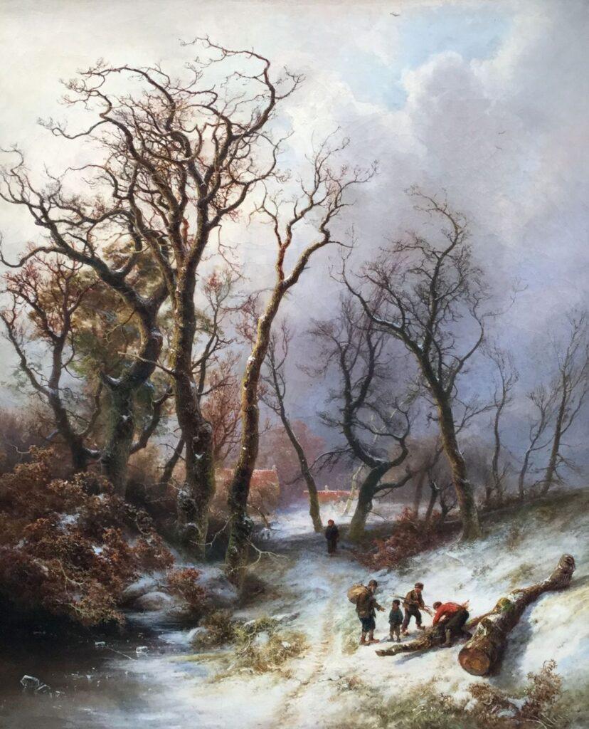 Kunstenaar P.L.F Kluyver C2594, P.L.F. Kluyver 'Houtsprokkelaars in de winter' Olie op doek, beeldmaat: 78 cm x 65 cm Rechtsonder gesigneerd Verkocht