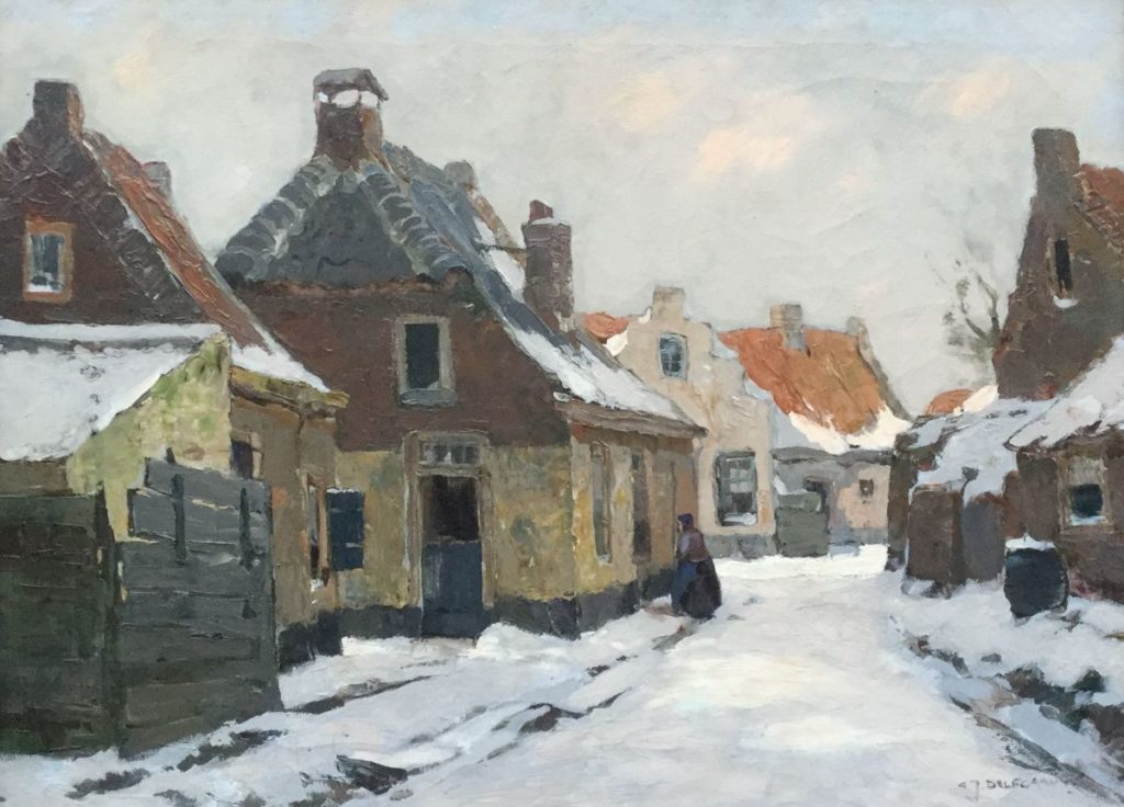 Schilderijen te koop van kunstschilder G.J. Delfgaauw Besneeuwd straatje olie op doek, doekmaat 45 x 60 cm rechtsonder gesigneerd, Expositie Galerie Wijdemeren Breukeleveen
