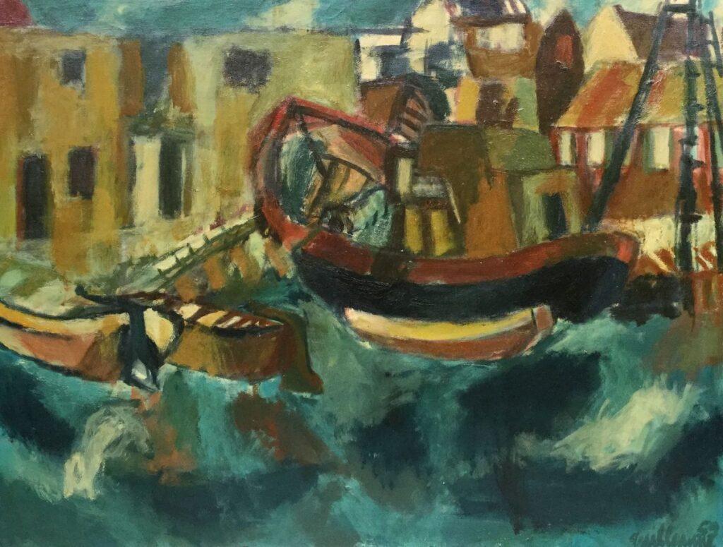 Kunstenaar Guillaume Lo-a-Njoe C2596, Guillaume Lo-a-Njoe Binnenhaven olie op doek, 80 x 107 cm r.o. gesigneerd en gedateerd 59  verkocht