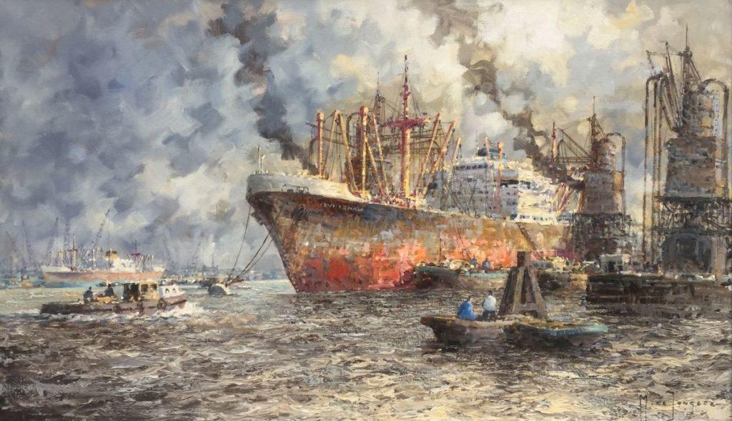 Kunstenaar Marius de Jongere c2602 MJ de Jongere Havengezicht Rotterdam olie op doek, 60 x 100 cm rechtsonder gesigneerd verkocht