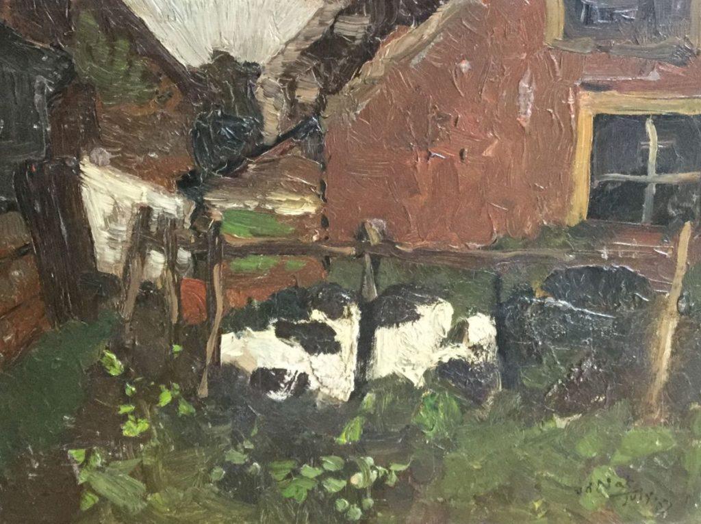 Schilderijen te koop van kunstschilder WH van der Nat schetsje van liggende koe in de wei olie op paneel, paneelmaat 21,5 x 27 cm rechtsonder gesigneerd en gedateerd, Expositie Galerie Wijdemeren Breukeleveen