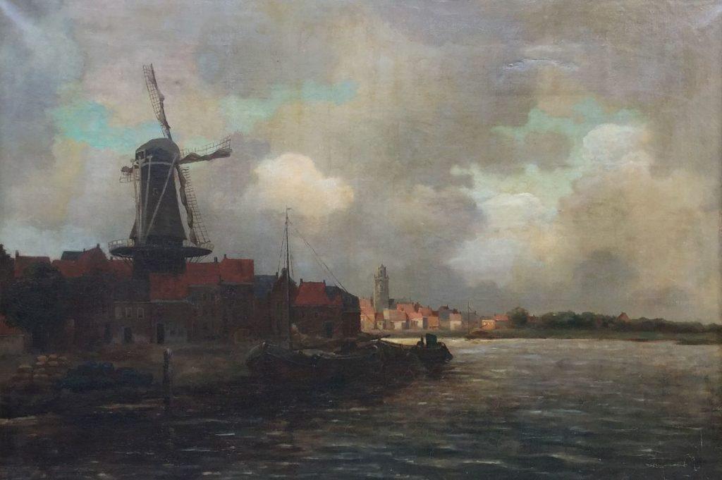 JC van Hulsteijn dorpsgezicht met molen aan vaart olie op doek, doekmaat 86 x 114,5 cm gesigneerd rechtsonder