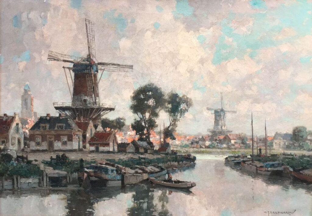 Schilderijen te koop van kunstschilder G.J. Delfgaauw Landschap met molen olie op doek, rechtsonder gesigneerd Expositie Galerie Wijdemeren Breukeleveen