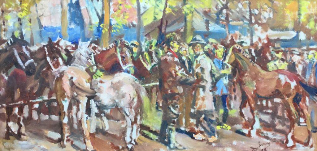 Kunstenaar Bernhard van Dulmen Krumpelman C2706-2, Bern. van Dulmen Krumpelman Paardenmarkt te Laren verkocht
