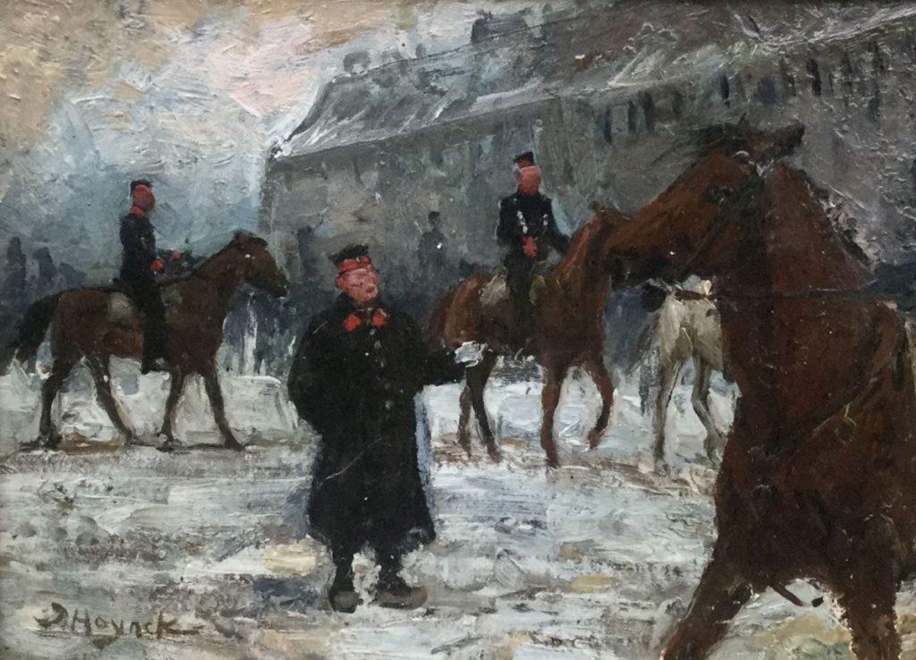 Schilderijen te koop van kunstschilder Jan Hoynck Paardrijles bij het politiecorps olie op paneel, paneelmaat 18 x 24 cm linksonder gesigneerd, Expositie Galerie Wijdemeren Breukeleveen