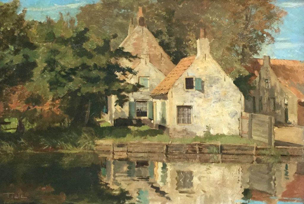 Kunst te koop bij Galerie Wijdemeren van Jan C. Tiele Boerderij aan de vaart olie op doek, 36 x 50 cm linksonder gesigneerd