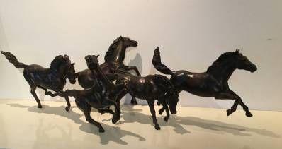 Kunstenaar Jean en Marianne Bremers C2768 JeanMarianne Bremers Con Brio, paardengroep van 5 paarden Brons, ca. 27cm hoog, unica gesigneerd