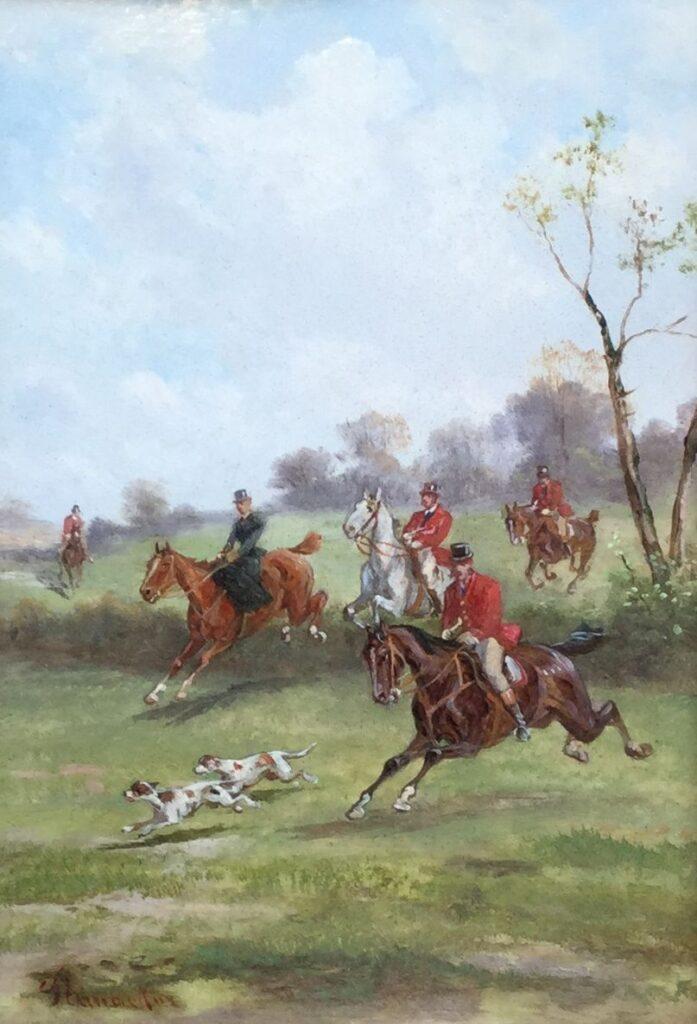 schilderijen te koop van kunstschilder, Alfred Steinacker jachttafereel olie op paneel, paneelmaat 21 x 15.5 cm linksonder gesigneerd, expositie, galerie wijdemeren breukeleveen