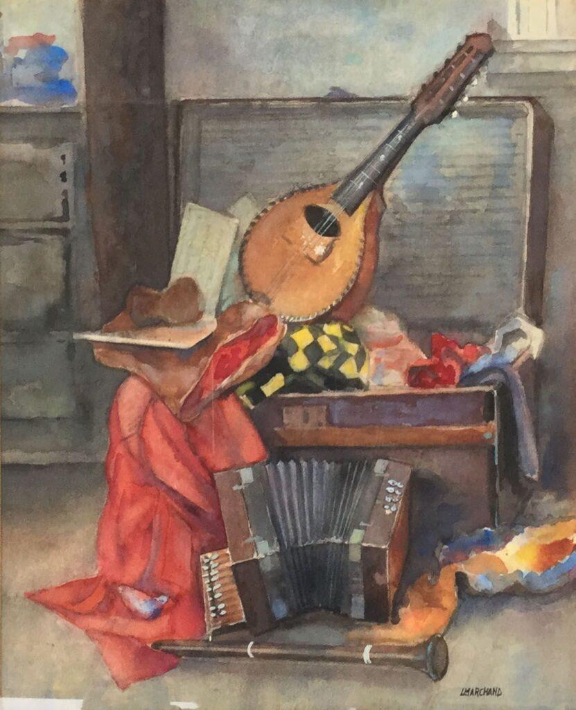 Kunstenaar Leo Marchand C2872 Leo Marchand Stilleven met muziekinstrumenten Aquarel, beeldmaat 38 x 32 cm rechtsonder gesigneerd