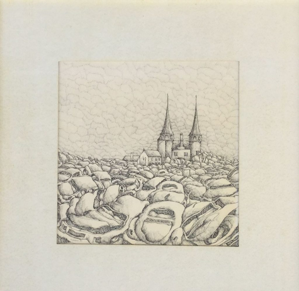schilderijen te koop van kunstschilder, Jan Rijnders Delft Oostpoort pentekening op papier, beeldmaat 23 x 23 cm gesigneerd linksonder, gedateerd 80, expositie, galerie wijdemeren breukeleveen