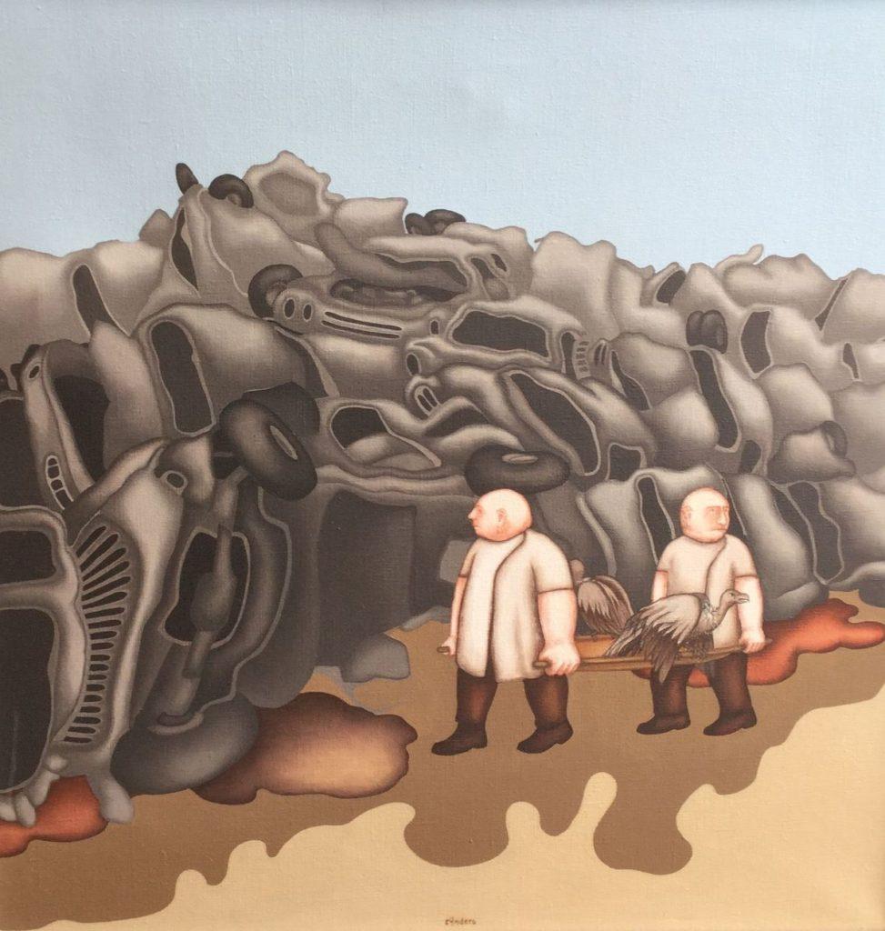 Schilderijen te koop van kunstschilder Jan Rijnders Na de files over de belevenissen van twee ziekenbroeders olie op doek, doekmaat 60 x 60 cm middenonder gesigneerd, Expositie Galerie Wijdemeren Breukeleveen