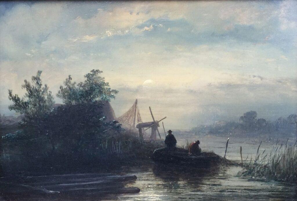 Kunstenaar Jacobus Franciscus Hoppenbrouwers C2903, J.F. Hoppenbrouwers Bootje bij schemering olie op paneel particuliere collectie