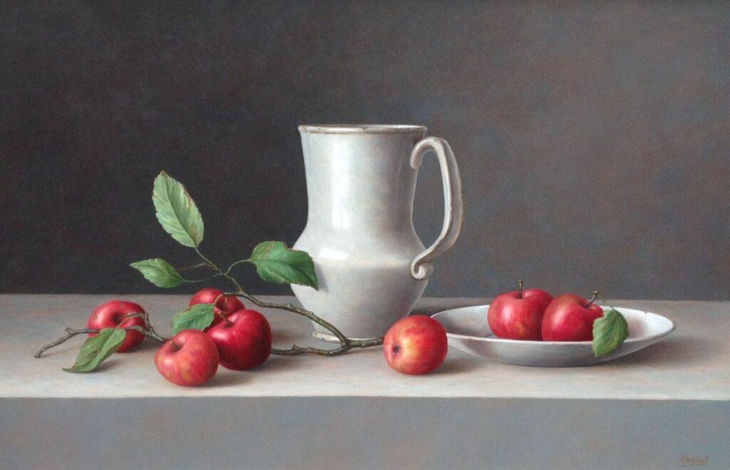 C2910, Annelies Jonkhart Stilleven met Spaanse kan en rode appeltjes olie op paneel, 44 x 69 cm gesigneerd r.o. verkocht, te koop bij Galerie Wijdemeren Breukeleveen, schilderijen, expositie