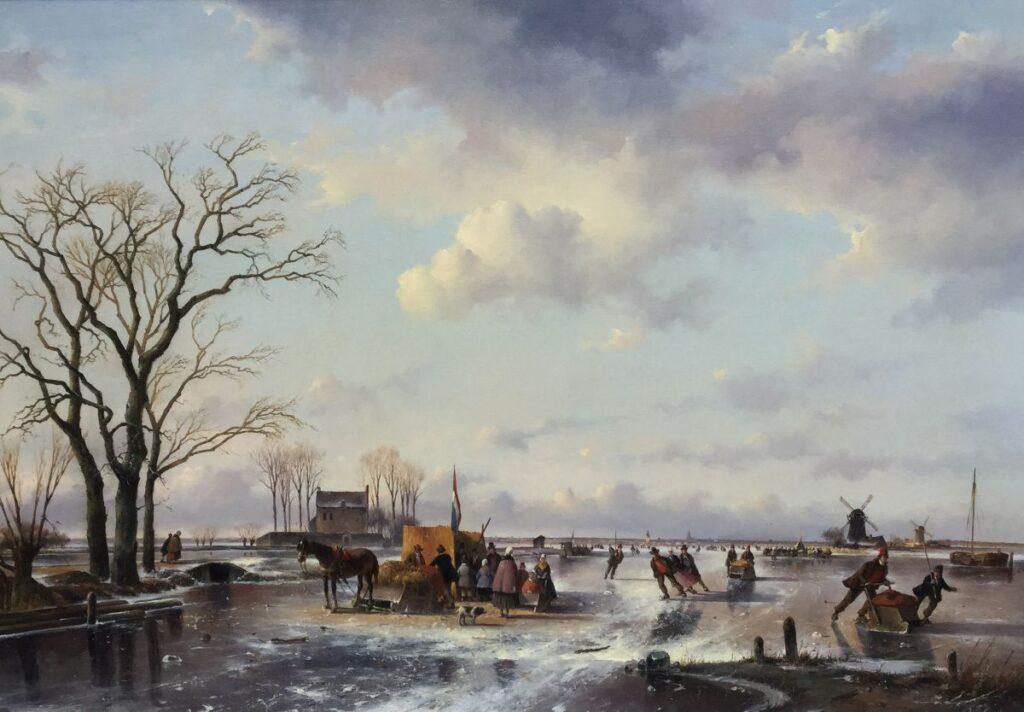 Schilderijen te koop van kunstschilder Fred Arends IJspret Olie op doek, 70 x 100 cm Rechtsonder gesigneerd, Expositie Galerie Wijdemeren Breukeleveen
