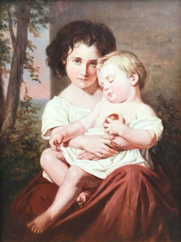 Kunstenaar A. Brun C2920, A, Brun Kinderportretje olie op paneel, 23,5 x 17,5 cm links midden gesigneerd en gedateerd 1866 particuliere collectie