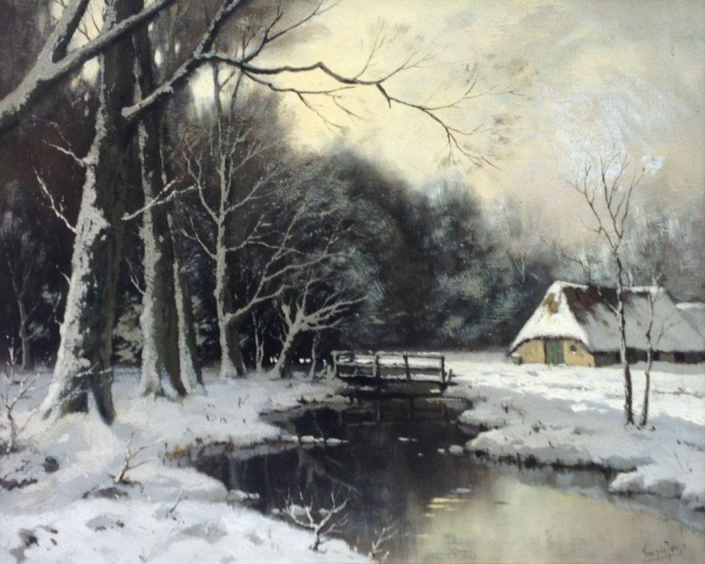Kunstenaar Tinus de Jongh C2921, Tinus de Jongh Sneeuwlandschap r.o. gesigneerd verkocht