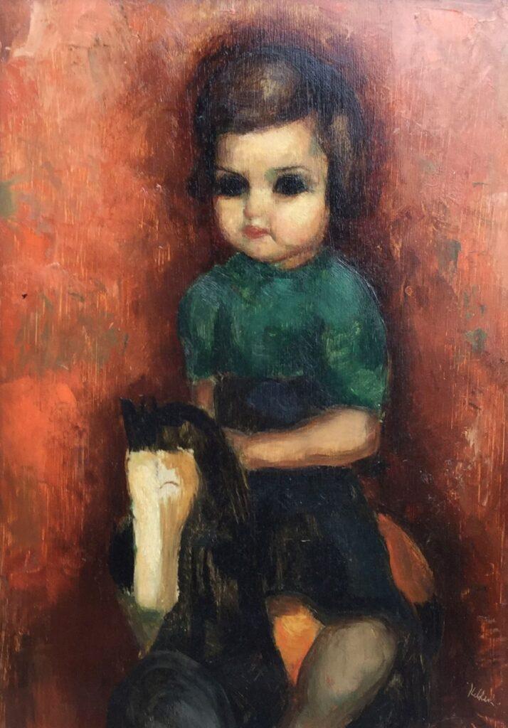 Kunstenaar Toon Kelder C2924, Toon Kelder meisje op paardje olie op paneel, 24 x 33 cm r.o. gesigneerd