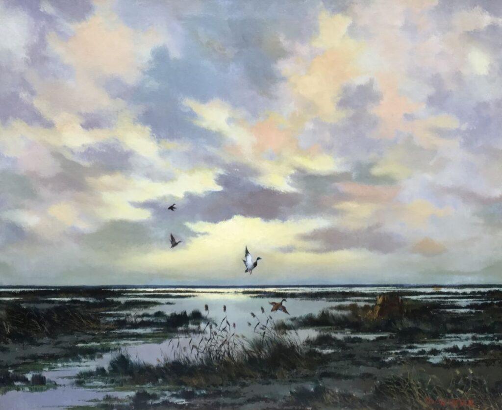 Schilderijen te koop, kunstschilder Toon Koster Opvliegende eenden olie op doek, gesigneerd, expositie Galerie Wijdemeren Breukeleveen