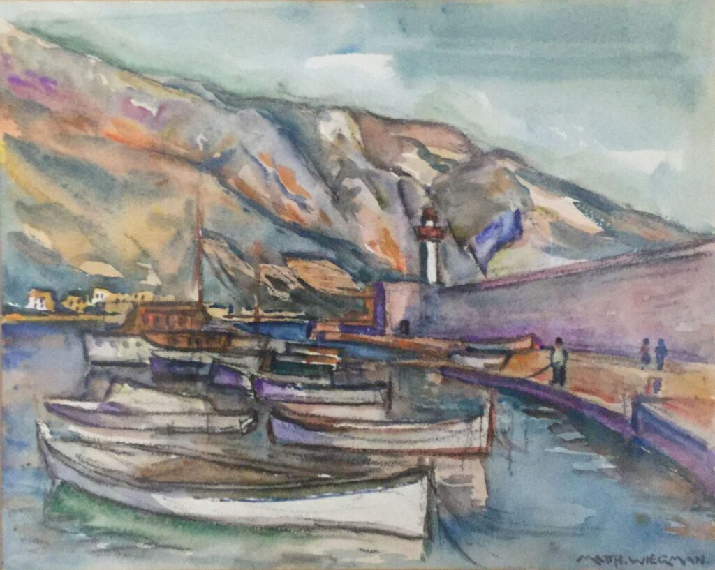 Schilderijen te koop van kunstschilder Matthieu Wiegman Mediterraans havengezicht aquarel, gesigneerd rechtsonder, Expositie Galerie Wijdemeren Breukeleveen