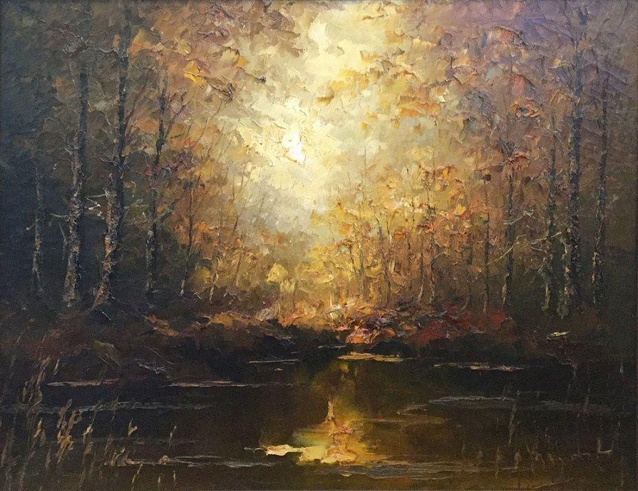 Schilderijen te koop van kunstschilder John Bevort Bosgezicht olie op doek, 80 x 100 cm, Expositie Galerie Wijdemeren Breukeleveen