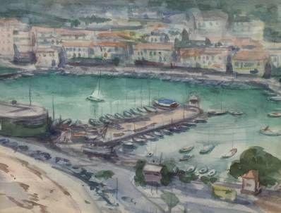 Schilderijen te koop van kunstschilder Han Bolte Havengezicht Mediterraan Aquarel, beeldmaat 26,5 x 35 cm, Expositie Galerie Wijdemeren Breukeleveen