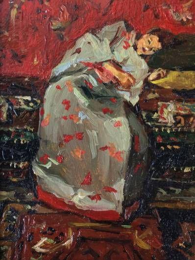 Schilderijen te koop, kunstschilder Sasha Borgen Lindhardt Kimono in blauw olie op paneel, paneelmaat 7 x 8,5 cm gesigneerd verso, Expositie Galerie Wijdemeren Breukeleveen