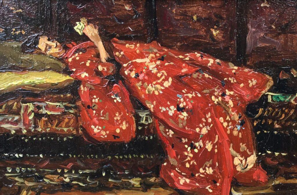 Schilderijen te koop, kunstschilder Sasha Bagen Lindhoudt Kimino in rood Olie op paneel, paneelmaat 9.5 x 14.5 cm gesigneerd verso, Expositie Galerie Wijdemeren Breukeleveen