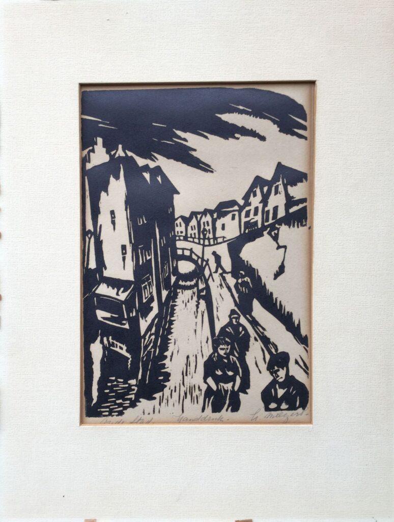 Kunstenaar  C3010, Henk (Hendrik) Melgers  Stadsgezicht  lino, 36,5 x 28,5 cm, r.o. gesigneerd