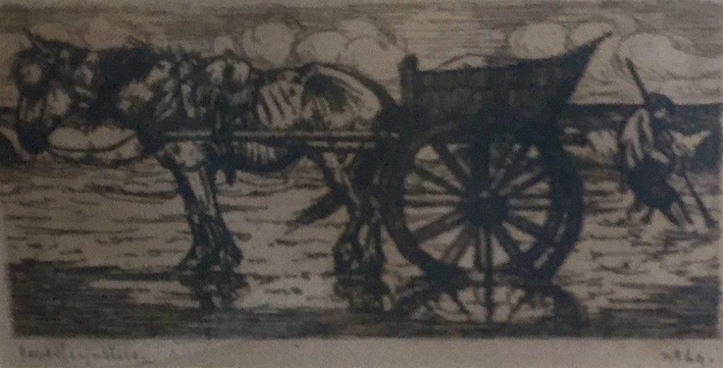 Schilderijen te koop, kunstschilder Kees Heynsius Paard en wagen ets, beeldmaat 9.5 x 18 cm linksonder gesigneerd, gedateerd 69, expositie Galerie Wijdemeren Breukeleveen