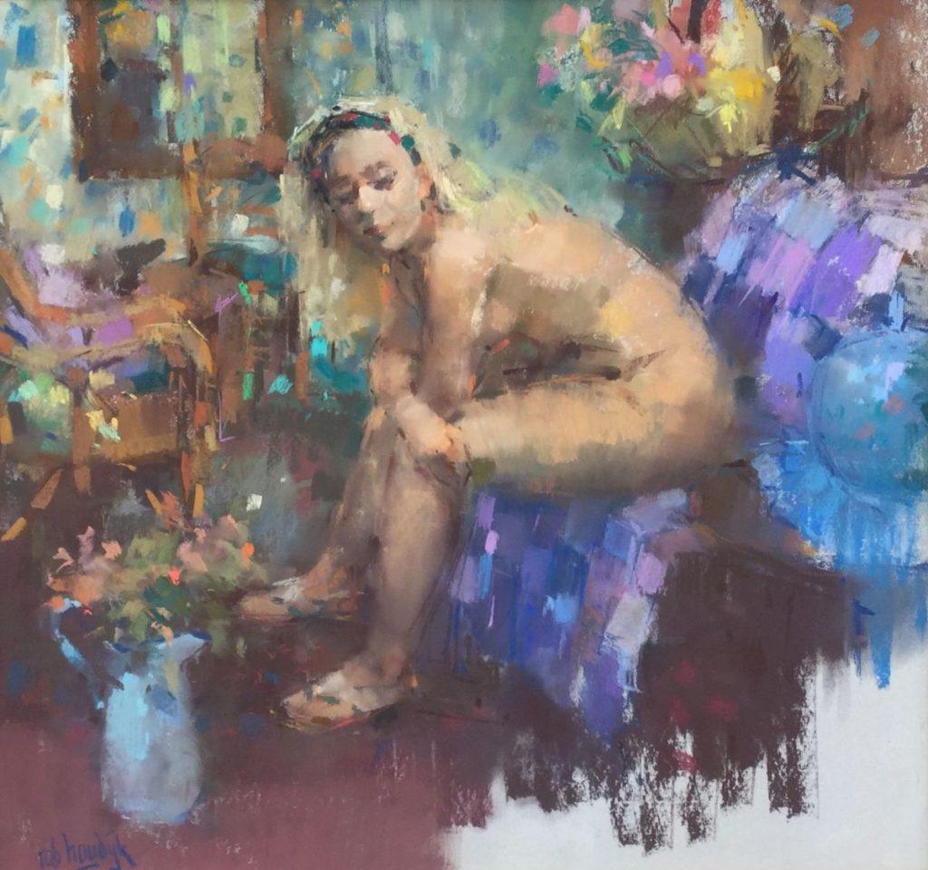 Schilderijen te koop van kunstschilder Rob Houdijk gouache/pastel, zittend naakt gesigneerd, Expositie Galerie Wijdemeren Breukeleveen