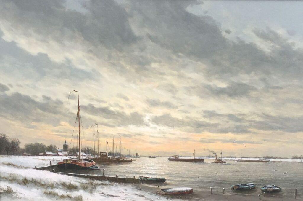 Kunstenaar Herman J. Wijngaard C3057 H.J. Wijngaard Winters riviergezicht met schepen olieverf op doek, 60 x 90 cm r.o. gesigneerd verkocht