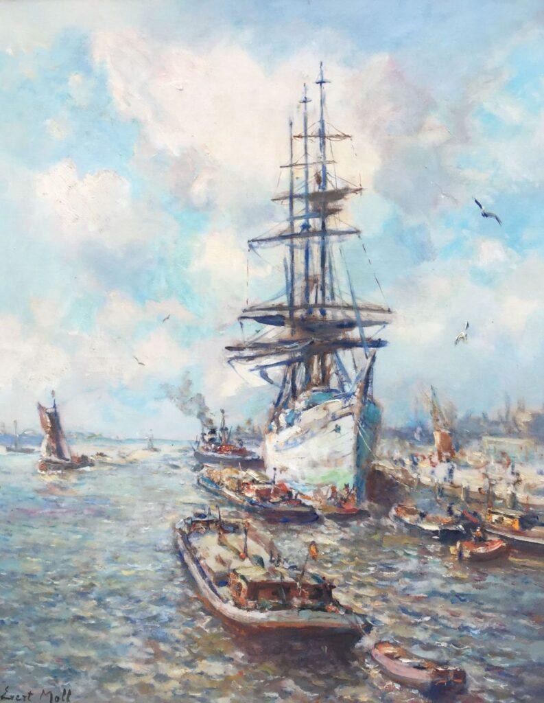 Kunstenaar Evert Moll C3058, Evert Moll schip in de haven olie op doek, 101 x 81 cm l.o. gesigneerd  verkocht
