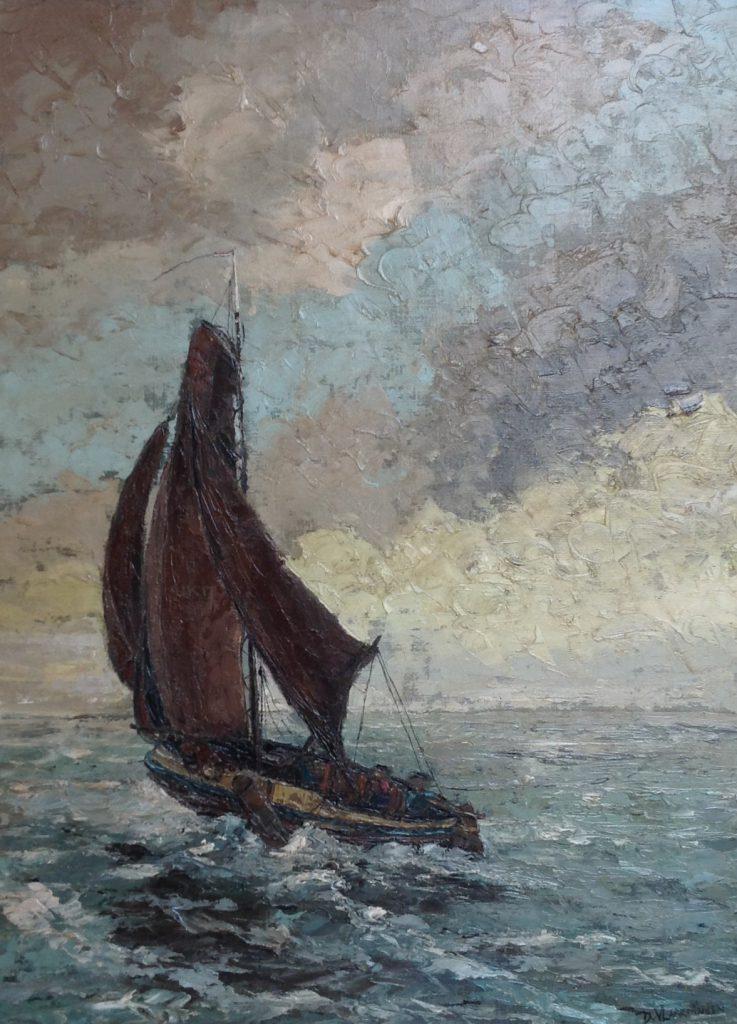 schilderijen te koop van kunstschilder, Dick van Vlaardingen 'Botter' olie op doek rechtsonder gesigneerd, expositie, galerie wijdemeren breukeleveen